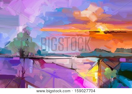 Abstract oil painting landscape background. Colorful yellow and purple sky. Oil painting outdoor landscape on canvas. Semi- abstract tree hill and field meadow. Sunset landscape nature background