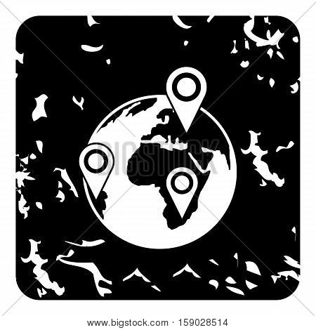 Globe earth with pointer marks icon. Grunge illustration of globe earth with pointer marks vector icon for web