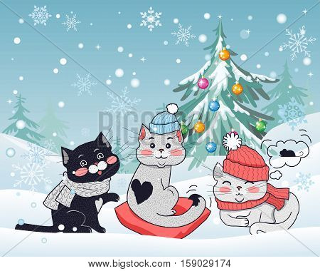 Happy winter friends. Three little cats in big red hat, scarfs, heart shaped pillow. Funny kittens wearing warm cloth. Winter landscape with cartoon characters. Small feline in flat design. Vector