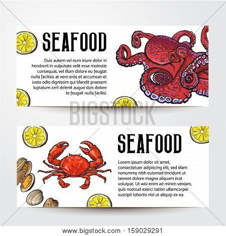 Two seafood restaurant, cafe banner templates with crab and octopus, sketch vector illustration. Seafood horizontal banner design, promotion, special offer, templates with hand drawn crab and octopus