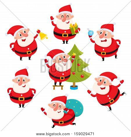 Cute and funny Santa Claus with Christmas attributes, cartoon vector illustration isolated on white background. Santa Claus decorating Christmas tree, running with a gift bag, ice skating, having fun