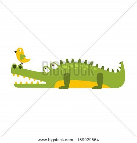 Crocodile Watching Bird On His Nose Flat Cartoon Green Friendly Reptile Animal Character Drawing. Part Of Alligator And Its Different Positions And Activities Collection Of Childish Fauna Colorful Vector Illustrations.