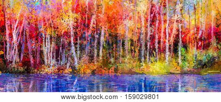 Oil painting colorful autumn trees. Semi abstract image of forest, aspen trees with yellow - red leaf and lake. Autumn, Fall season nature background. Hand Painted Impressionist outdoor landscape
