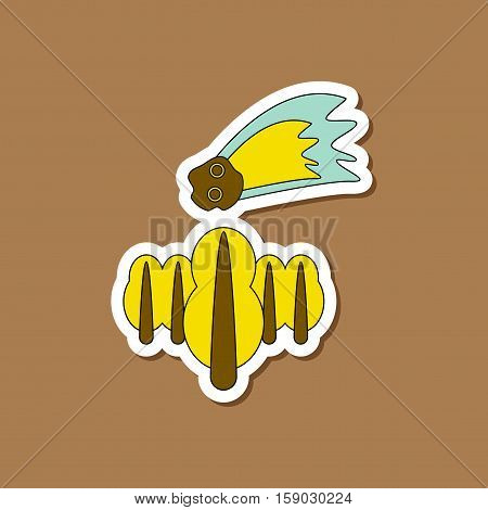 paper sticker on stylish background of falling meteorite