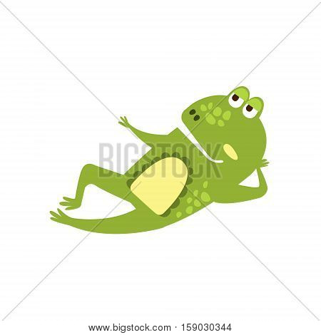 Frog Laying Down Preaching Flat Cartoon Green Friendly Reptile Animal Character Drawing. Part Of Toad And Its Different Positions And Activities Collection Of Childish Fauna Colorful Vector Illustrations.