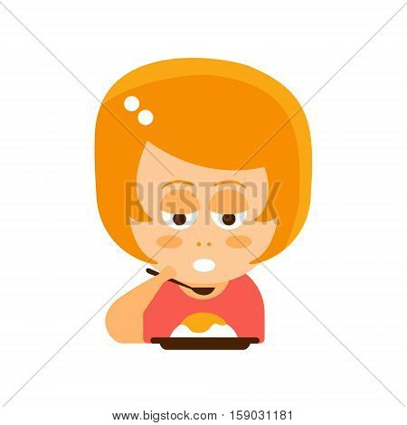 Little Red Head Girl In Red Dress Eating Flat Cartoon Character Portrait Emoji Vector Illustration. Part Of Emotional Facial Expressions And Activities Of Small Cute Kid.