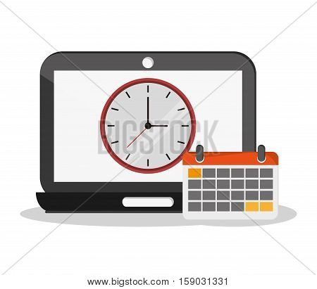 Laptop clock and calendar icon. Worktime office supplies and workforce theme. Colorful design. Vector illustration