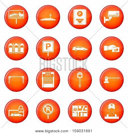 Car parking icons vector set of red circles isolated on white background