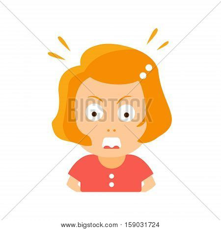 Little Red Head Girl In Red Dress Enraged Flat Cartoon Character Portrait Emoji Vector Illustration. Part Of Emotional Facial Expressions And Activities Of Small Cute Kid.