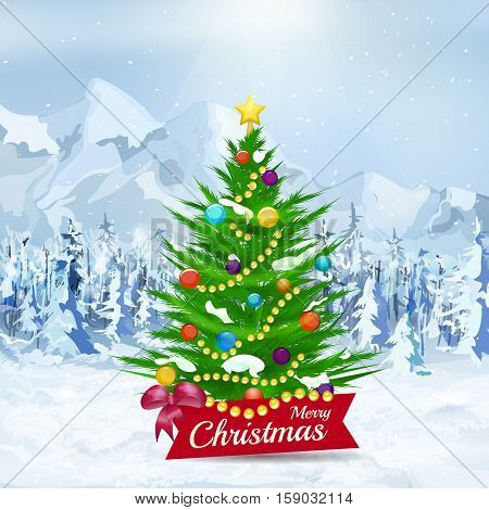 Christmas tree on winter snow background. Light blue landscape of mountains and  forest, snow and fall snowflakes. Merry Christmas and happy new year. Green tree with colorful ball