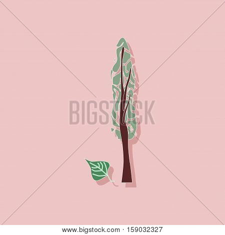 paper sticker on stylish background of plant Populus