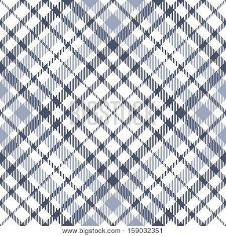 Seamless tartan plaid pattern. Checkered fabric texture background in stripes of grayish blue on white.