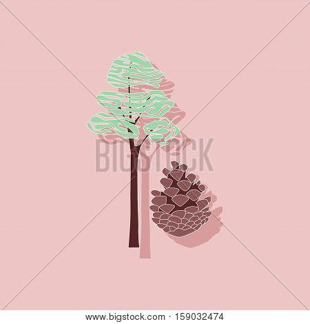 paper sticker on stylish background of plant Pinus
