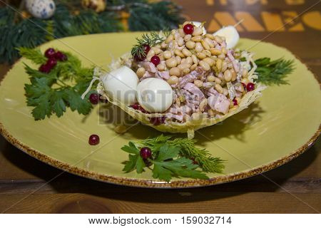 Salad With Meat, Pine Nuts And Quail Eggs.