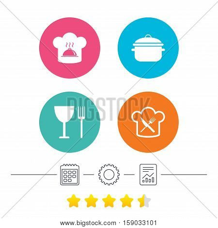 Chief hat and cooking pan icons. Crosswise fork and knife signs. Boil or stew food symbols. Calendar, cogwheel and report linear icons. Star vote ranking. Vector