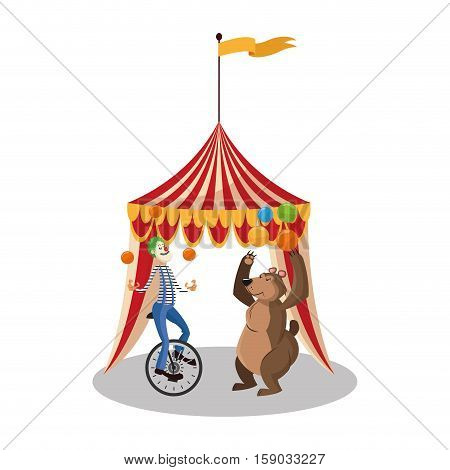 Tent clown and bear icon. Circus carnival fair fun and show theme. Colorful design. Vector illustration