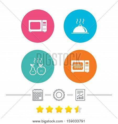 Microwave grill oven icons. Cooking apple and pear signs. Food platter serving symbol. Calendar, cogwheel and report linear icons. Star vote ranking. Vector