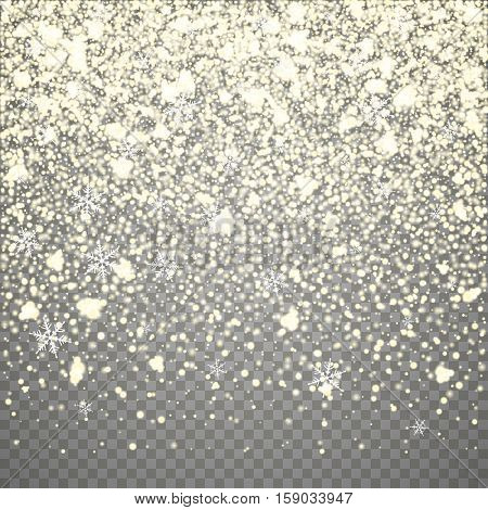 Isolated Christmas falling yellow snow overlay on transparent background. Snowflakes storm layer. Snow pattern for design. Snowfall backdrop texture. Vector snow illustration