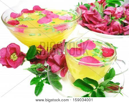 rose punch tea cocktail punch in bowl and cup