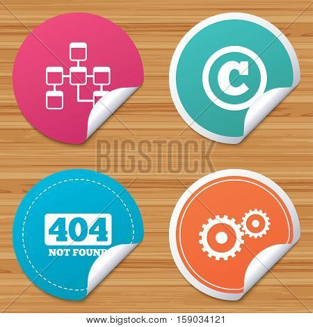 Round stickers or website banners. Website database icon. Copyrights and gear signs. 404 page not found symbol. Under construction. Circle badges with bended corner. Vector