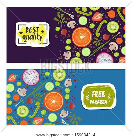 Paraben free horizontal flyers set vector illustration. Vegetarian, gmo free, fresh and natural, vegan, best quality, healthy lifestyle, bio and eco nutrition concept. Fruits and vegetables background