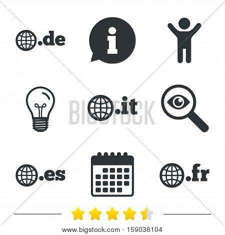 Top-level internet domain icons. De, It, Es and Fr symbols with globe. Unique national DNS names. Information, light bulb and calendar icons. Investigate magnifier. Vector
