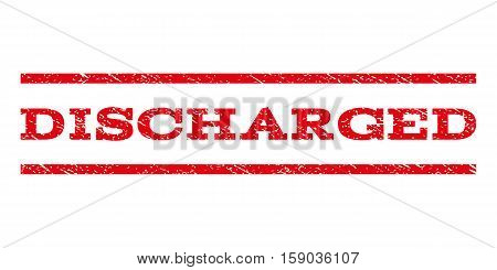 Discharged watermark stamp. Text tag between horizontal parallel lines with grunge design style. Rubber seal stamp with unclean texture. Vector red color ink imprint on a white background.