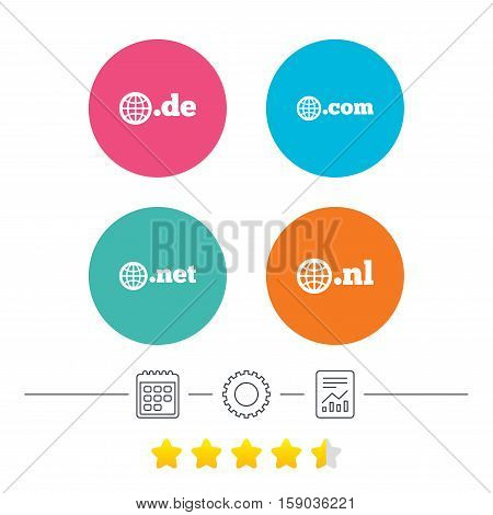Top-level internet domain icons. De, Com, Net and Nl symbols with globe. Unique national DNS names. Calendar, cogwheel and report linear icons. Star vote ranking. Vector