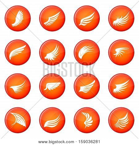 Wing icons vector set of red circles isolated on white background