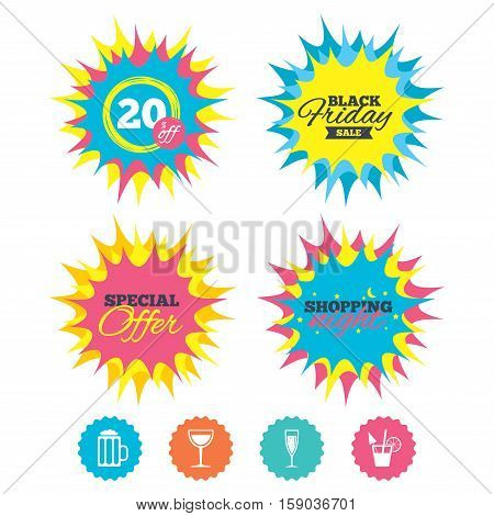 Shopping night, black friday stickers. Alcoholic drinks icons. Champagne sparkling wine with bubbles and beer symbols. Wine glass and cocktail signs. Special offer. Vector