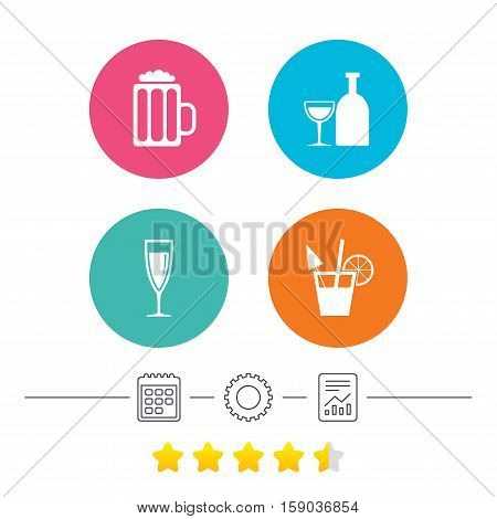 Alcoholic drinks icons. Champagne sparkling wine and beer symbols. Wine glass and cocktail signs. Calendar, cogwheel and report linear icons. Star vote ranking. Vector