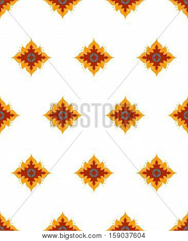 Gorgeous star flower pattern vector image. Red, yellow, sea blue flowers with white background. Good for textile design and home linens. Stylized flowers. Sea blue element.