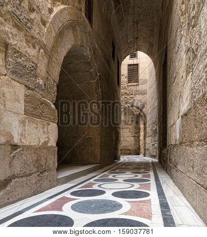 Cairo, Egypt - November 19, 2016: The passage leading to the Courtyard of Sultaan Qalawun mosque Old Cairo Egypt
