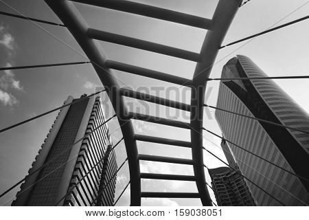 Greyscale architectural bridge in bangkok