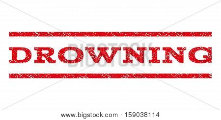 Drowning watermark stamp. Text caption between horizontal parallel lines with grunge design style. Rubber seal stamp with dirty texture. Vector red color ink imprint on a white background.