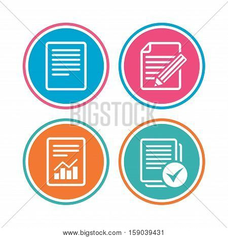 File document icons. Document with chart or graph symbol. Edit content with pencil sign. Select file with checkbox. Colored circle buttons. Vector
