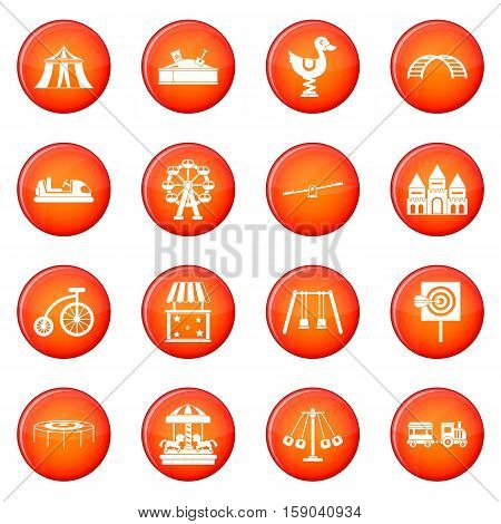 Amusement park icons vector set of red circles isolated on white background
