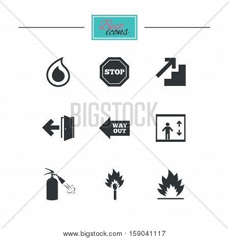 Fire safety, emergency icons. Fire extinguisher, exit and stop signs. Elevator, water drop and match symbols. Black flat icons. Classic design. Vector