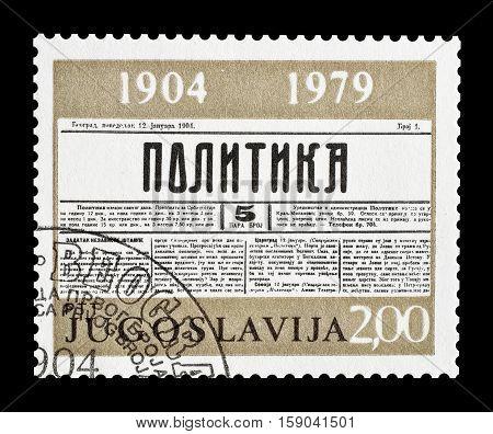 YUGOSLAVIA - CIRCA 1979 : Cancelled postage stamp printed by Yugoslavia, that shows Newspaper Borba.
