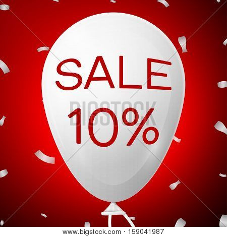 White Baloon with text Sale 10 percent Discounts. SALE concept for shops store market, web and other commerce. Vector illustration