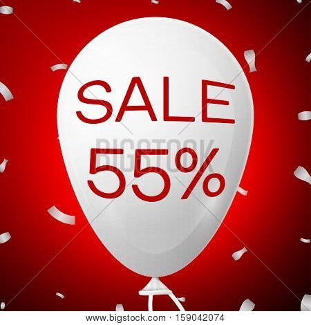 White Baloon with text Sale 55 percent Discounts. SALE concept for shops store market, web and other commerce. Vector illustration