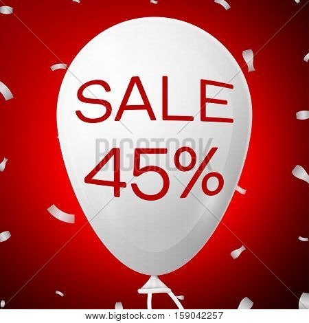 White Baloon with text Sale 45 percent Discounts. SALE concept for shops store market, web and other commerce. Vector illustration