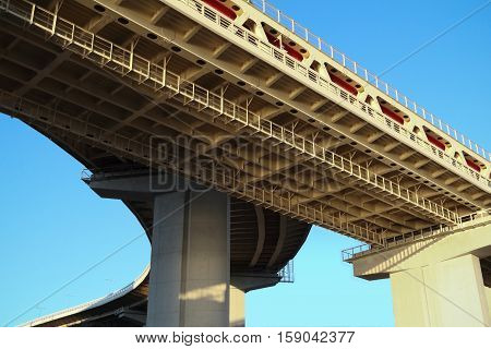Fork in the bridge across the Oka river. Bottom view.