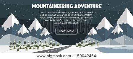 Mountaineering winter banner, web design. Evening at Alps, road, lake, hills, fir trees. Vector flat mountains panoramic illustration. Wide winter adventure flat illustration.
