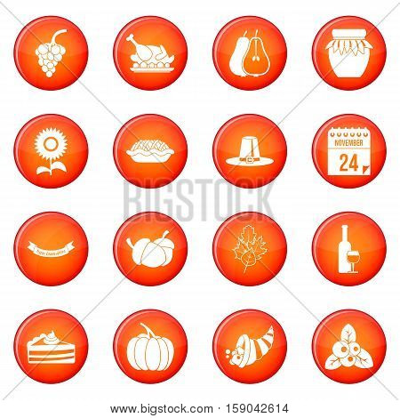 Thanksgiving icons vector set of red circles isolated on white background
