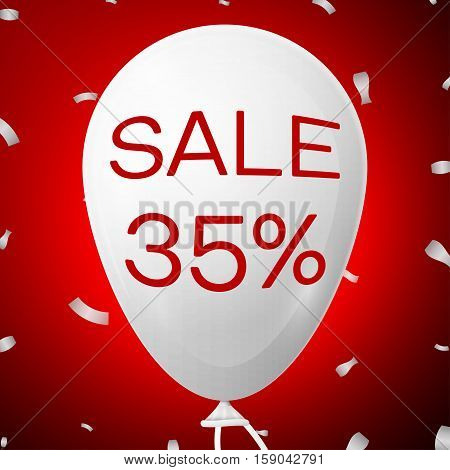 White Baloon with text Sale 35 percent Discounts. SALE concept for shops store market, web and other commerce. Vector illustration
