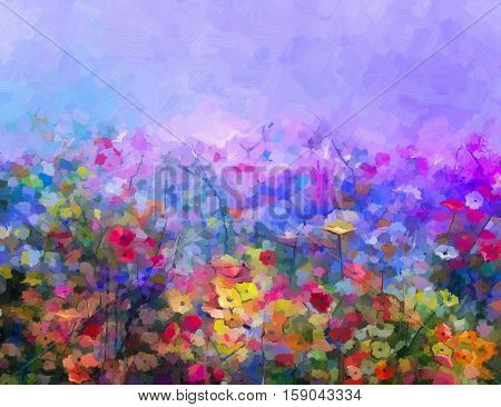 Abstract colorful oil painting purple cosmos flower, daisy, wildflower in field. Yellow and red wildflowers at meadow with blue sky. Spring summer season nature background