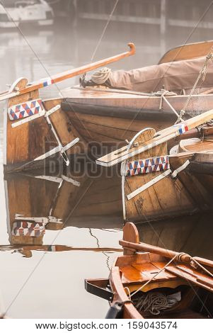 Details of Historic fishing vessels in the ancient port city Elbrug Gelderland Netherlands