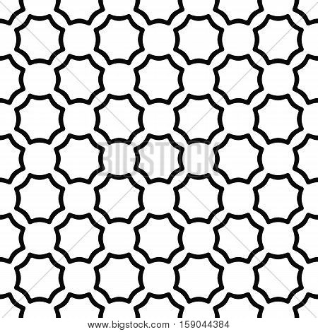 Black and white seamless curved octagon pattern background