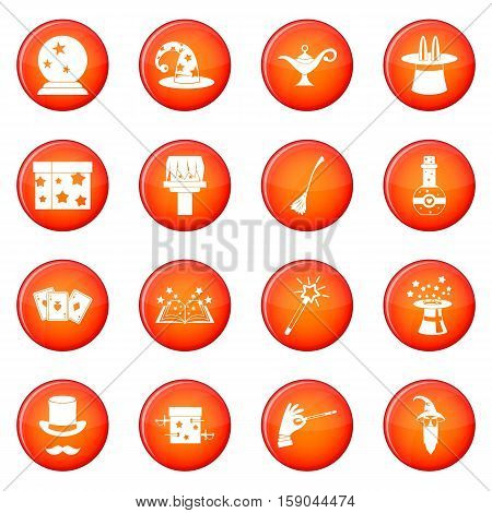Magic icons vector set of red circles isolated on white background